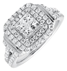 Other Invisible Princess Square Halo Diamond Engagement Ring 2.10ct.