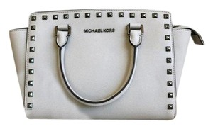 Michael Kors Gray Saffiano Leather Studded Selma Tote in Light Gray