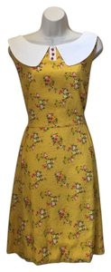 Modcloth short dress yellow floral Bea & Dot Peter Pan Collar Yellow Size 1x Vintage Inspired on Tradesy