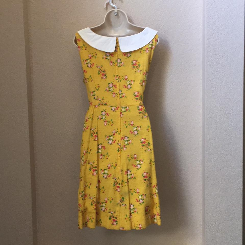 671e651a275f31 Modcloth Yellow Floral Bea & Dot Vintage Spring Peter Pan Collar Mid ...