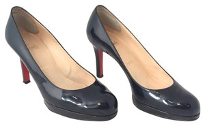 Christian Louboutin Round Toe Patent Leather Platform Black Pumps