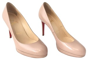 Christian Louboutin Patent Round Toe Platform Patent Leather Beige Pumps