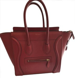 Céline Luggage Micro Tote in Red
