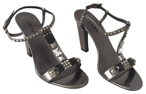 Prada Round Toe Studded Embellished Sandal Grey Pumps