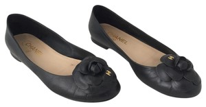 Chanel Leather Camella Round Toe Flower Black Flats