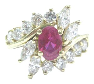 Other Fine Gem Ruby Diamond Yellow Gold Jewelry Ring 14Kt 1.46Ct F-VS1