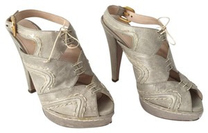 Prada Platform Peep Toe Leather Slingback Gold Hardware Grey Pumps