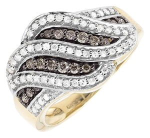 Other Swirl Wave Brown and White Genuine Diamond Wide Ring Band 0.65ct