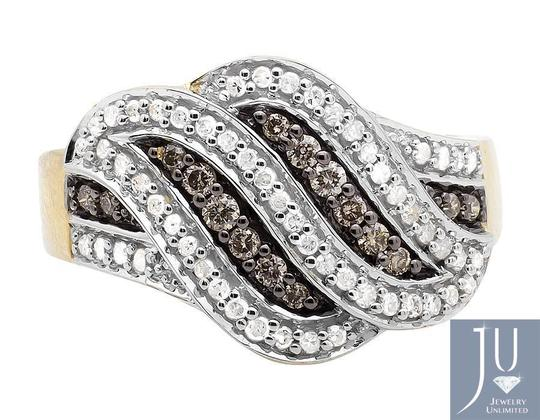 Other Swirl Wave Brown and White Genuine Diamond Wide Ring Band 0.65ct Image 3