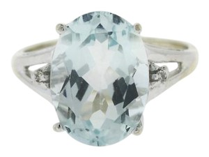 Other 5.8 ct Oval Aquamarine Diamond Cocktail Ring in 14k White Gold