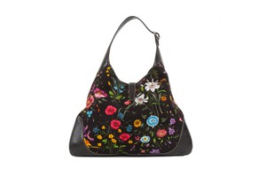 Gucci Leather Canvas Floral Hobo Bag