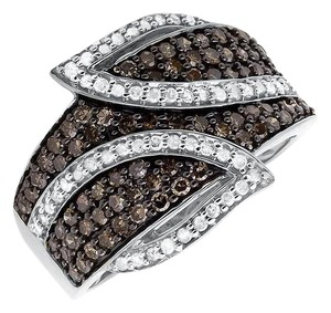 Other Wide Leaf White and Cognac Brown Real Diamond Band Ring 1.0ct.