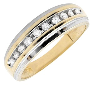 Jewelry Unlimited Men's 10K Two Tone Gold One Row Diamond Wedding Band Ring 0.25ct
