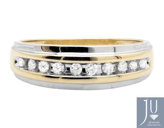 Jewelry Unlimited Men's 10K Two Tone Gold One Row Diamond Wedding Band Ring 0.25ct Image 2