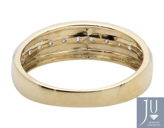 Jewelry Unlimited Men's 10K Two Tone Gold One Row Diamond Wedding Band Ring 0.25ct Image 3