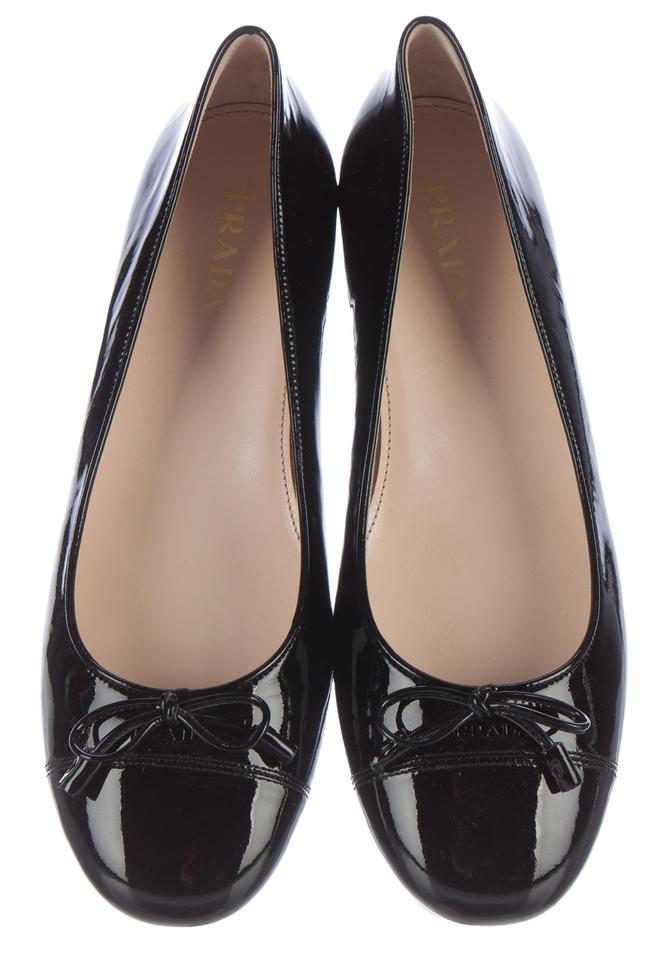 615f33575b Prada Black Patent Leather Logo Bow Cap-toe Flats Size US 9 Regular ...
