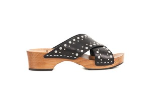 Saint Laurent Leather Studded Wood Black Sandals