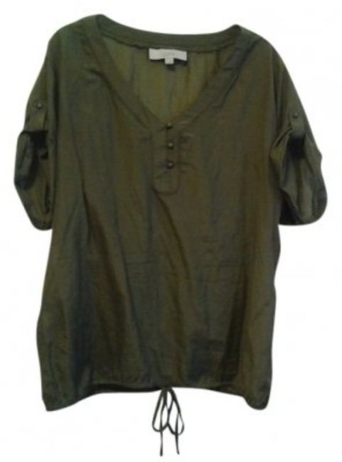 Preload https://item3.tradesy.com/images/ann-taylor-loft-army-green-tie-waist-blouse-size-12-l-21077-0-0.jpg?width=400&height=650