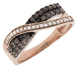 Other Criss Cross Brown Cognac and White Diamond Wedding Band Ring .49ct