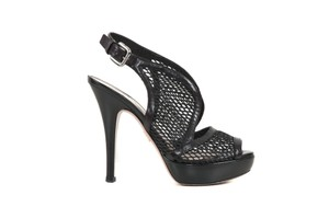 Prada Leather Platform Mesh Black Pumps
