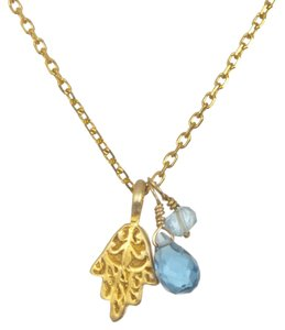 Other Satya Jewelry Aquamarine and Blue Topoaz Hamsa Necklace