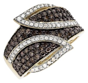 Jewelry Unlimited Wide Leaf White and Cognac Brown Real Diamond Band Ring 1.0ct.