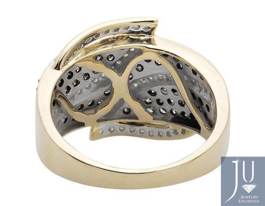 Jewelry Unlimited Wide Leaf White and Cognac Brown Real Diamond Band Ring 1.0ct. Image 2