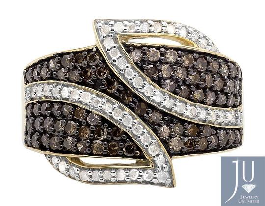 Jewelry Unlimited Wide Leaf White and Cognac Brown Real Diamond Band Ring 1.0ct. Image 3