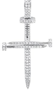 Other Solid Nail Cross Genuine Diamond 2 Inches Charm Pendant 0.85ct