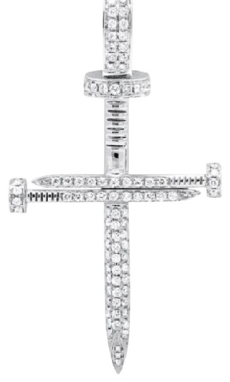 Other Solid Nail Cross Genuine Diamond 2 Inches Charm Pendant 0.85ct Image 0