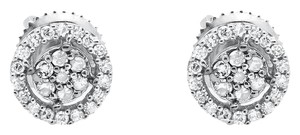 Other Ladies White Gold Diamond Halo Cluster 3D Stud Earrings 7MM (0.25ct)