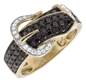 Other Belt Buckle Black And White Diamond Statement Band Ring 1.20ct.