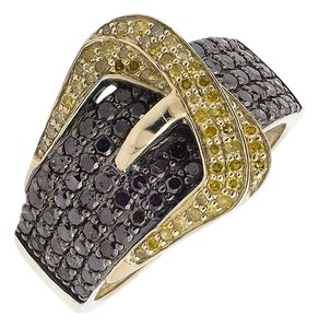 Other Belt Buckle Black And Canary Diamond Statement Band Ring 1.50ct.
