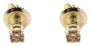 Other 10K Yellow Gold Brown Solitaire Diamond Stud Earrings 3MM (0.26ct)