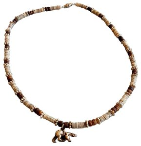 Other Tan and brown Shell Necklace with Bear Charm