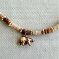 Other Tan and brown Shell Necklace with Bear Charm Image 1