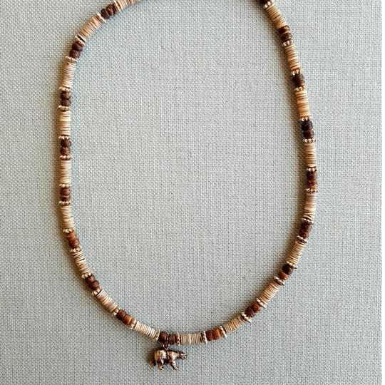 Other Tan and brown Shell Necklace with Bear Charm Image 4