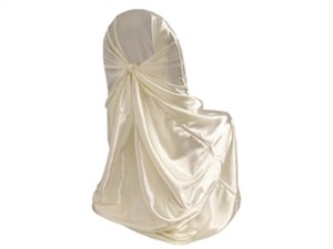 123 Ivory Satin Universal Chair Covers