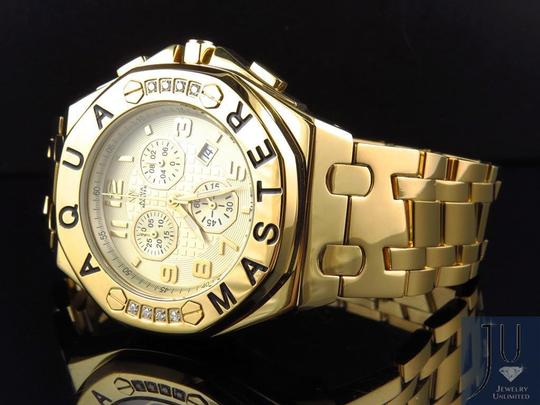 Other Mens Aqua Master 45 MM S.Steel Yellow Gold Finish Watch W#340 0.24 ct Image 2