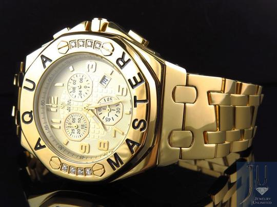 Other Mens Aqua Master 45 MM S.Steel Yellow Gold Finish Watch W#340 0.24 ct Image 5