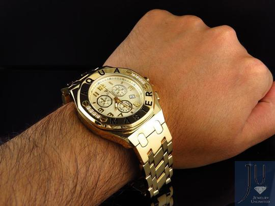 Other Mens Aqua Master 45 MM S.Steel Yellow Gold Finish Watch W#340 0.24 ct Image 8
