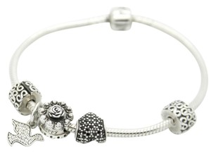 PANDORA Pandora Sterling Silver Charm Bracelet with 5 Charms