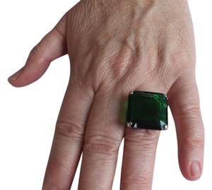 Other Large Green Stone Statement Ring Set In Sterling Silver, Size 6 3/4