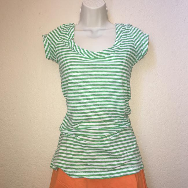 vintage stripe Tissue Nordstrom Cap Sleeve Size Medium T Shirt green and white Image 1