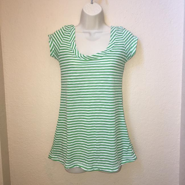 vintage stripe Tissue Nordstrom Cap Sleeve Size Medium T Shirt green and white Image 2