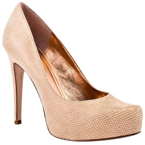 BCBGeneration Snakeskin Leather Platform Hidden Platform Beige Pumps