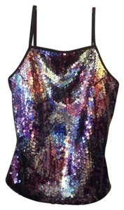 Express Sequins Colorful Showgirl Glam Pin Up Top Multi-Colored