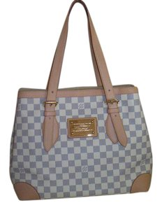 Louis Vuitton Damier Azur Canvas Hampstead Mm Tote Shoulder Bag