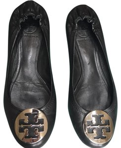 Tory Burch black with silver logos Flats