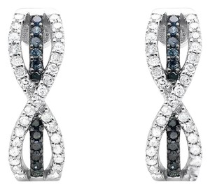 Other Infinity Bow Blue And White Diamond Dangle J-Hoop Earring 0.50ct.